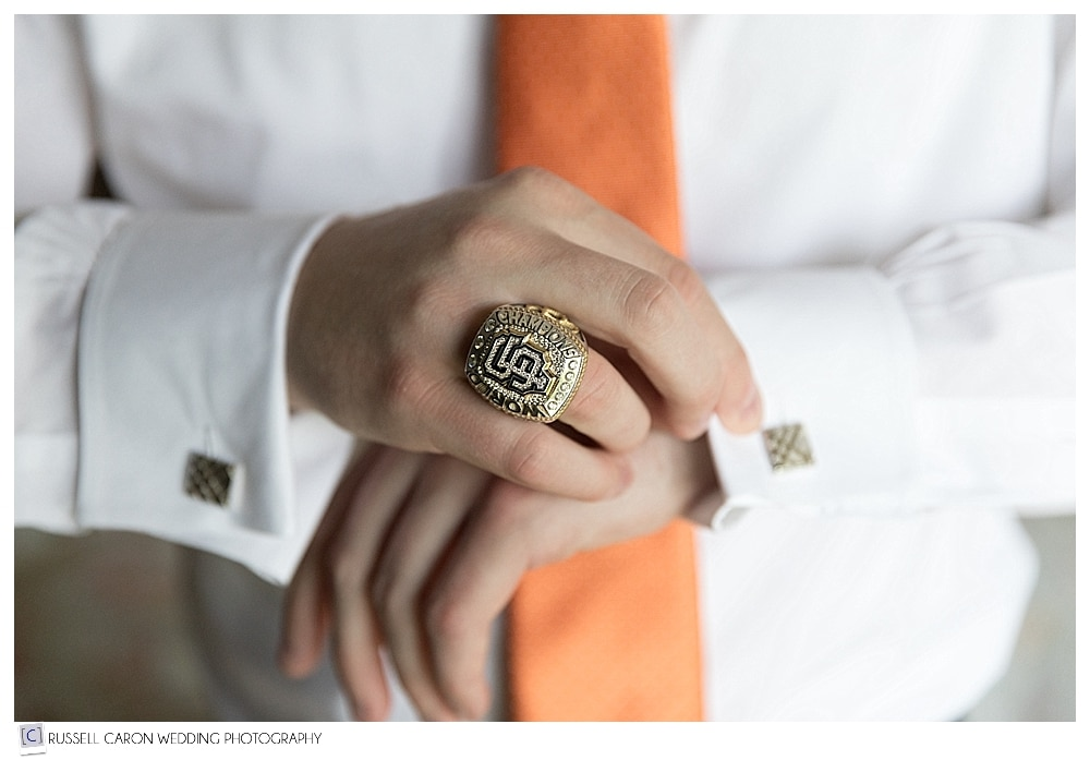 groom's details, San Fransisco Giants World Series ring, cufflinks photo