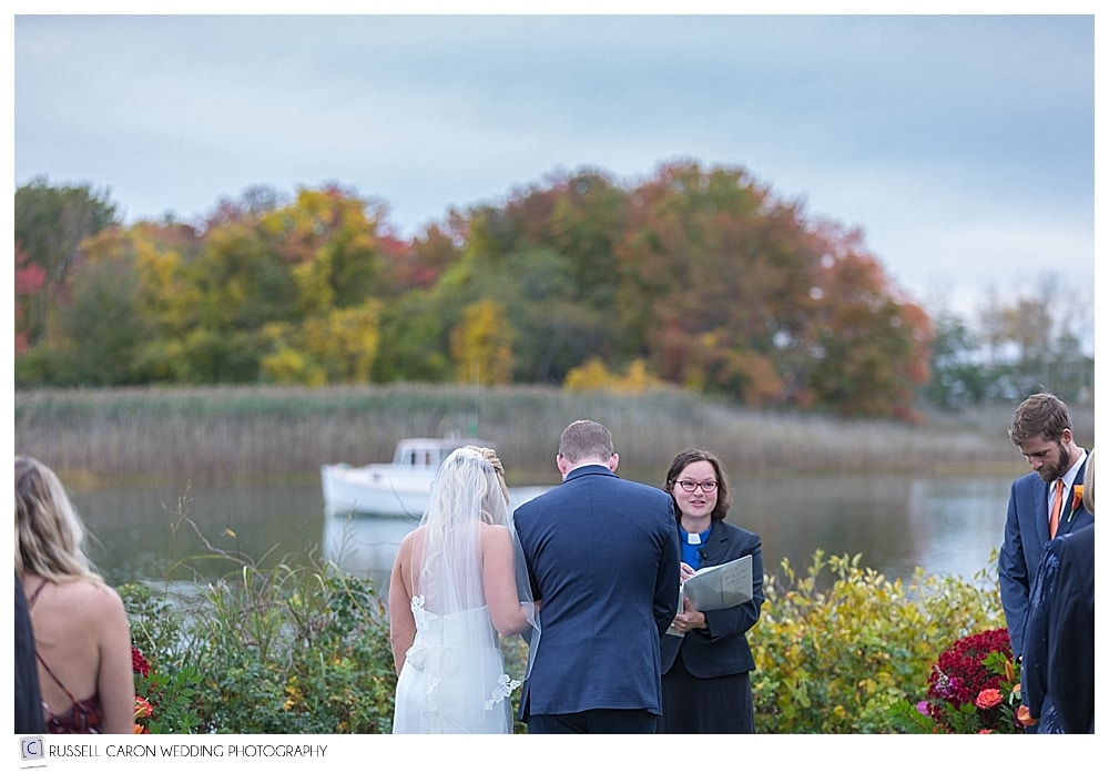 wedding ceremony on the Nonantum Resort lawn Kennebunkport Maine