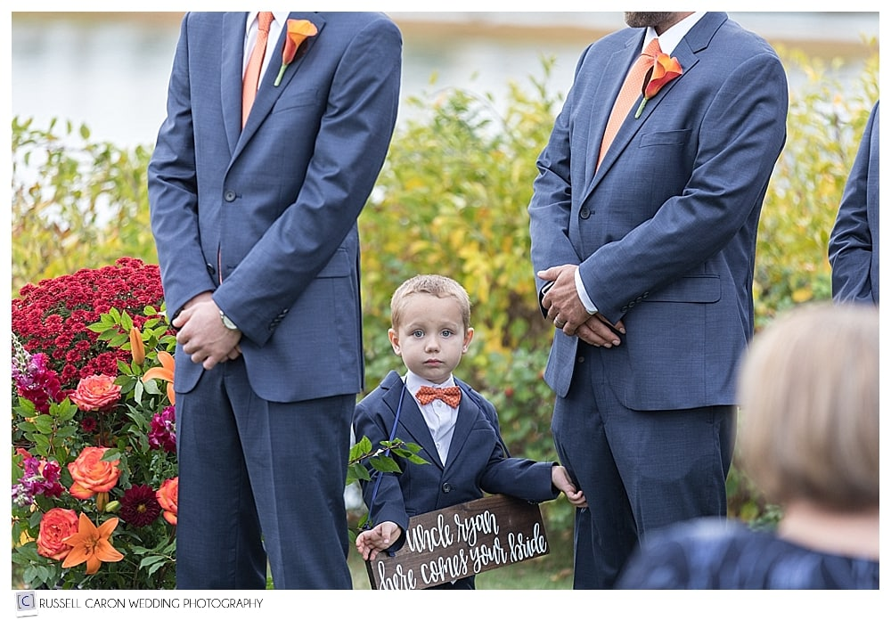 ring bearer during wedding ceremony
