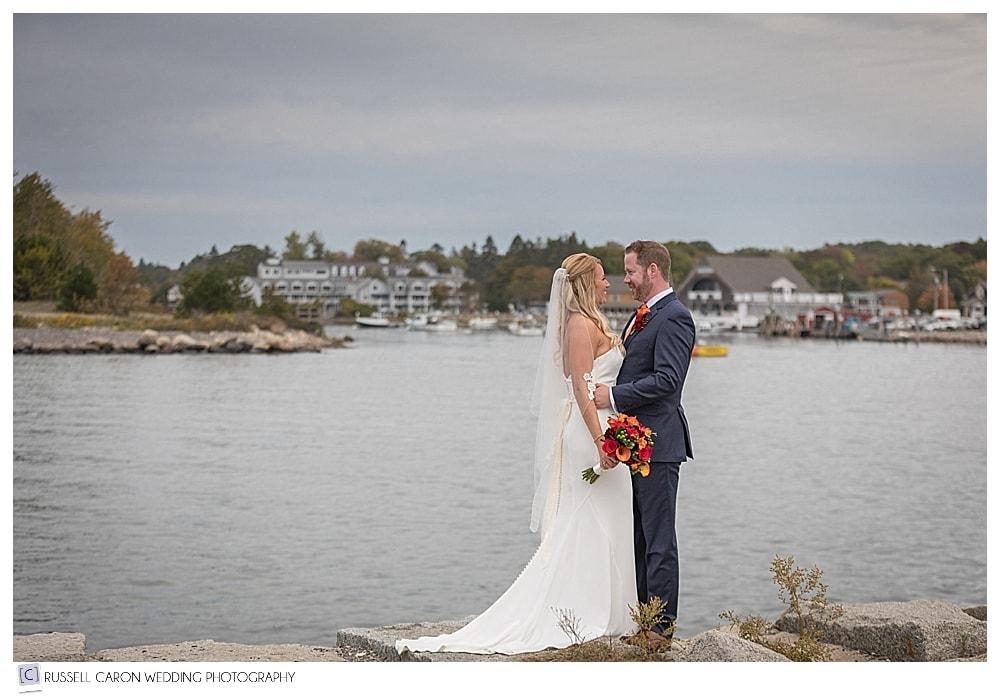 bride and groom on Kennebunk River Maine