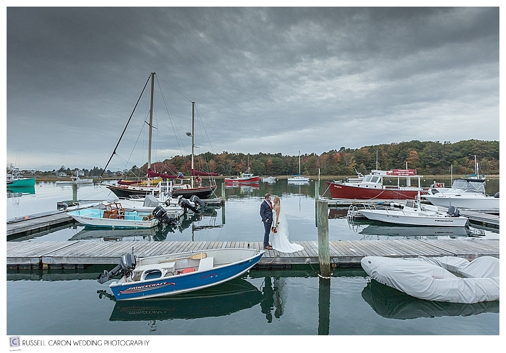 bride and groom on the Nonantum Resort dock Kennebunkport Maine