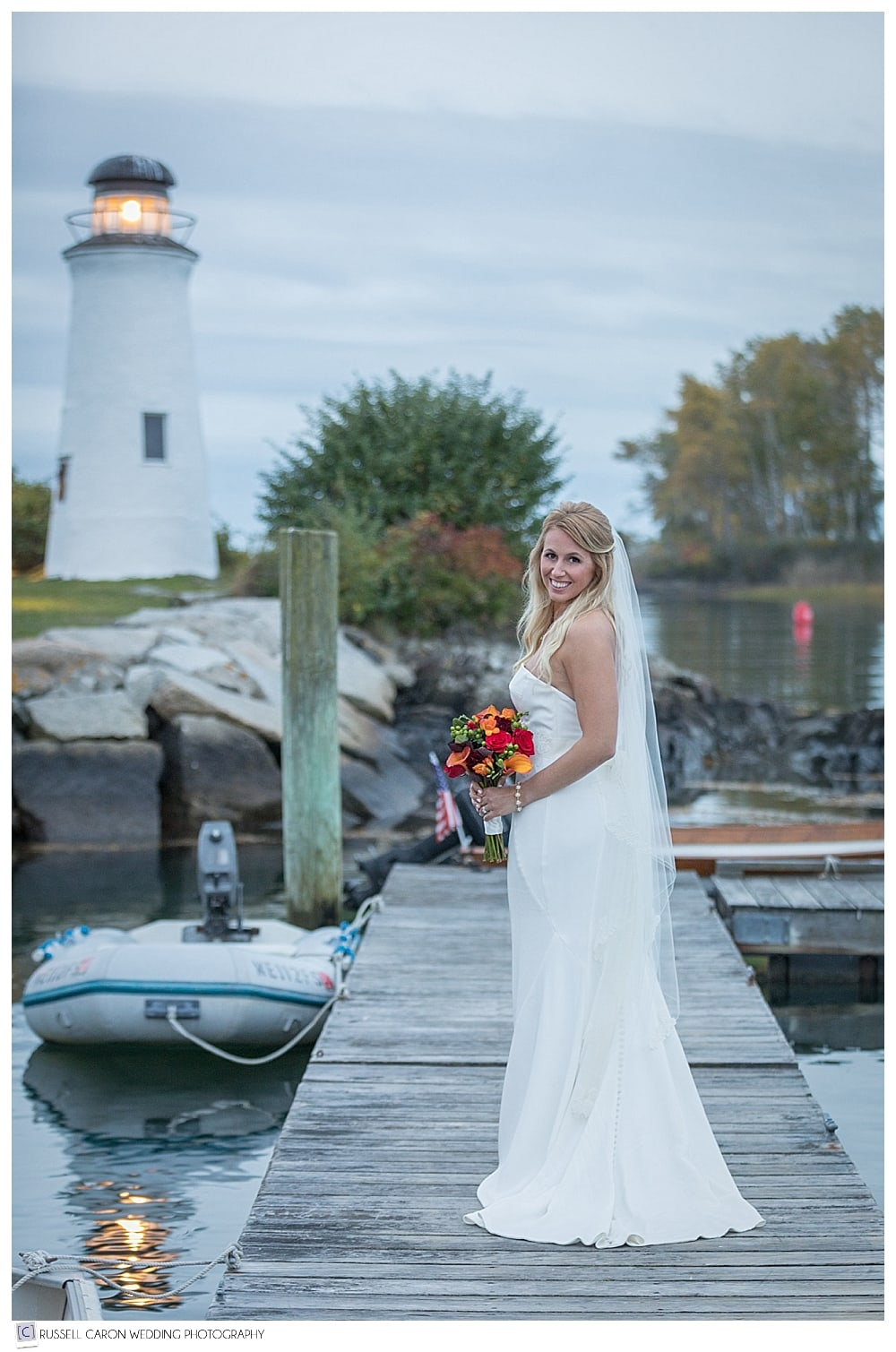 bridal portrait on the dock at the Nonantum Resort Kennebunkport Maine