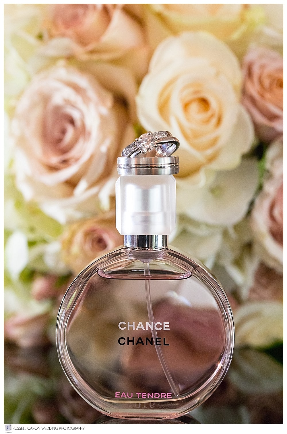 wedding day perfume and bridal bouquet