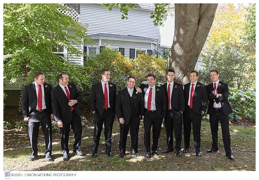 groom and groomsmen in front of the Nonantum Resort, Kennebunkport Maine