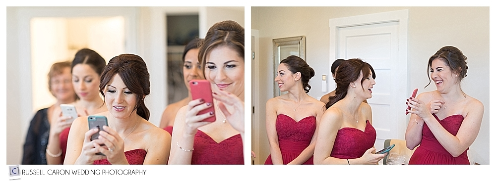 bridesmaids watching the bride get ready