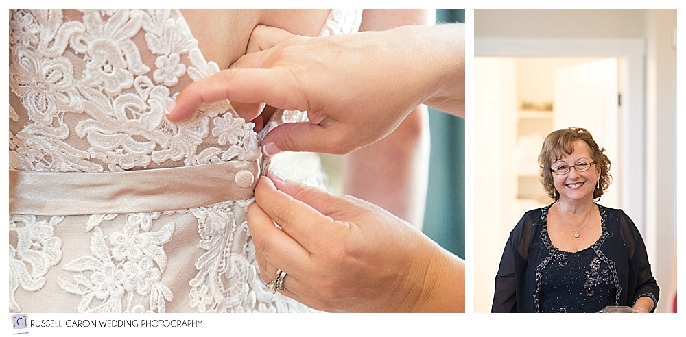 buttoning the bride's dress