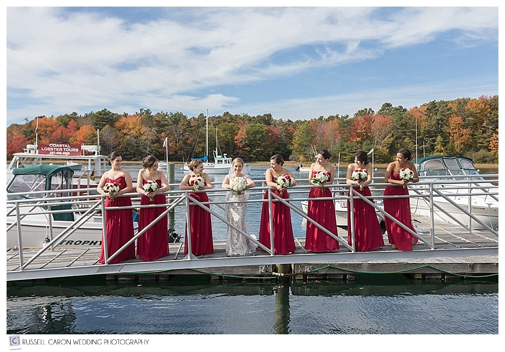 bride and bridesmaids on the Nonantum Resort gang plank