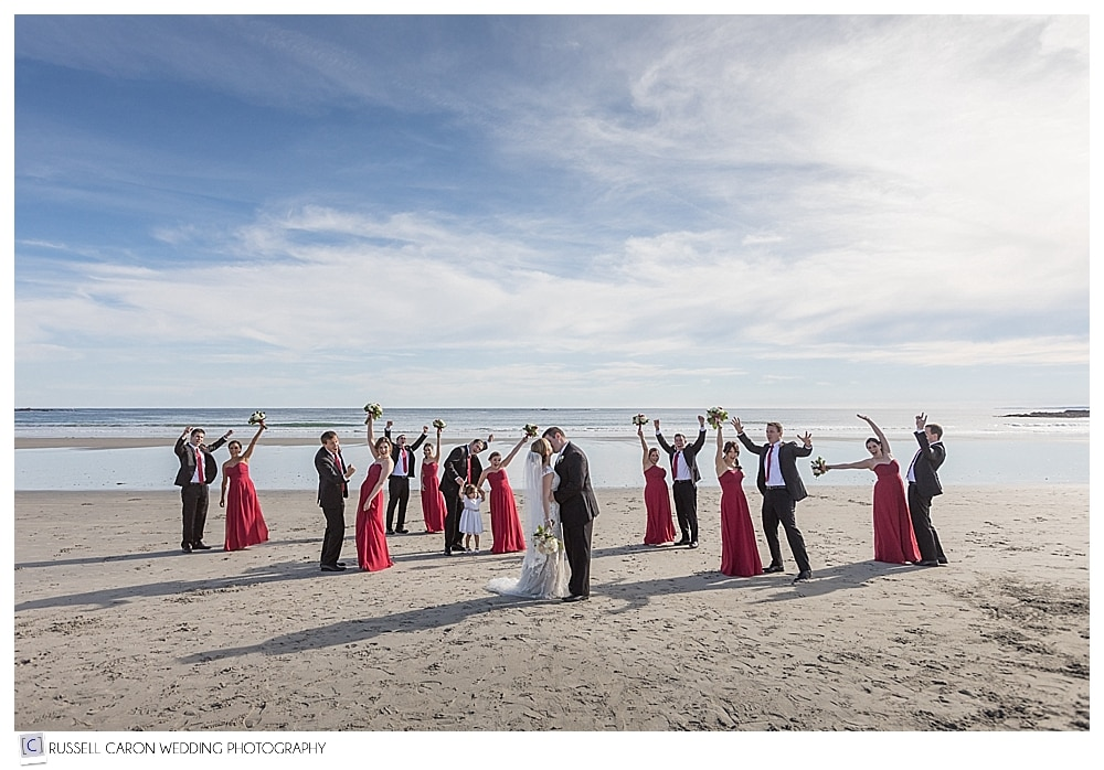 bridal party photo on the beach