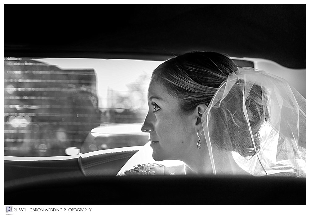 bride in the back of the limo