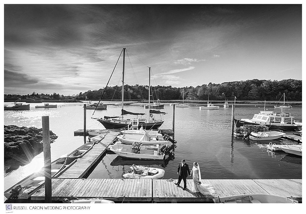 nonantum dock with bride and groom