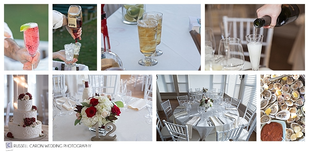 wedding reception details at the Nonantum Resort, Kennebunkport Maine