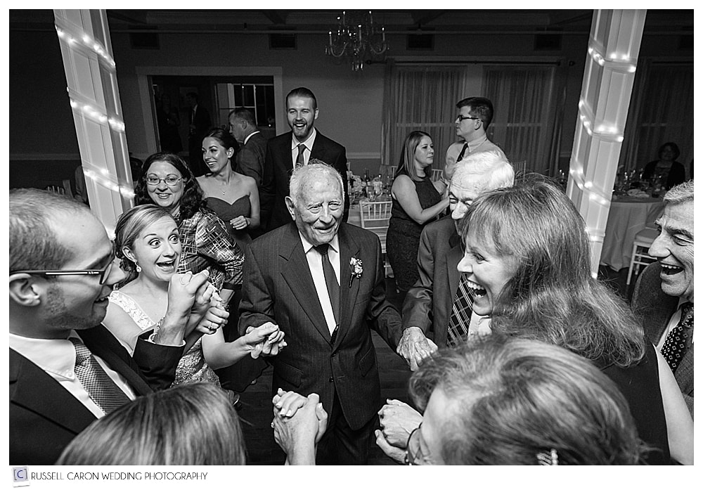 grandfather of the bride dancing during wedding reception