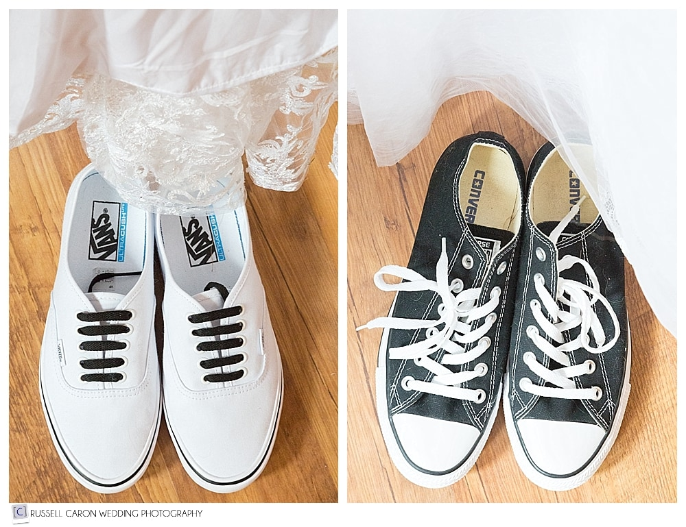 Black and white wedding sneakers