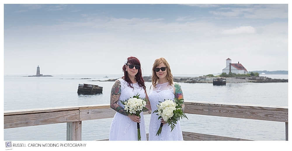 brides wearing sunglasses at Fort Foster, Kittery Maine wedding