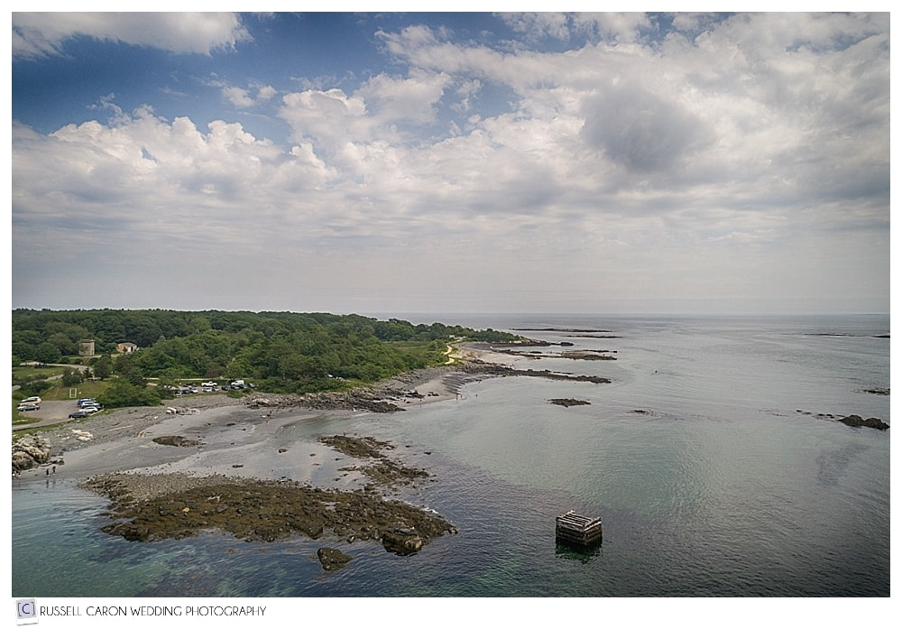 Fort Foster and Portsmouth Harbor via Maine drone wedding photography