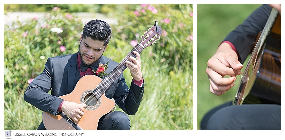 guitar player at Fort Foster wedding