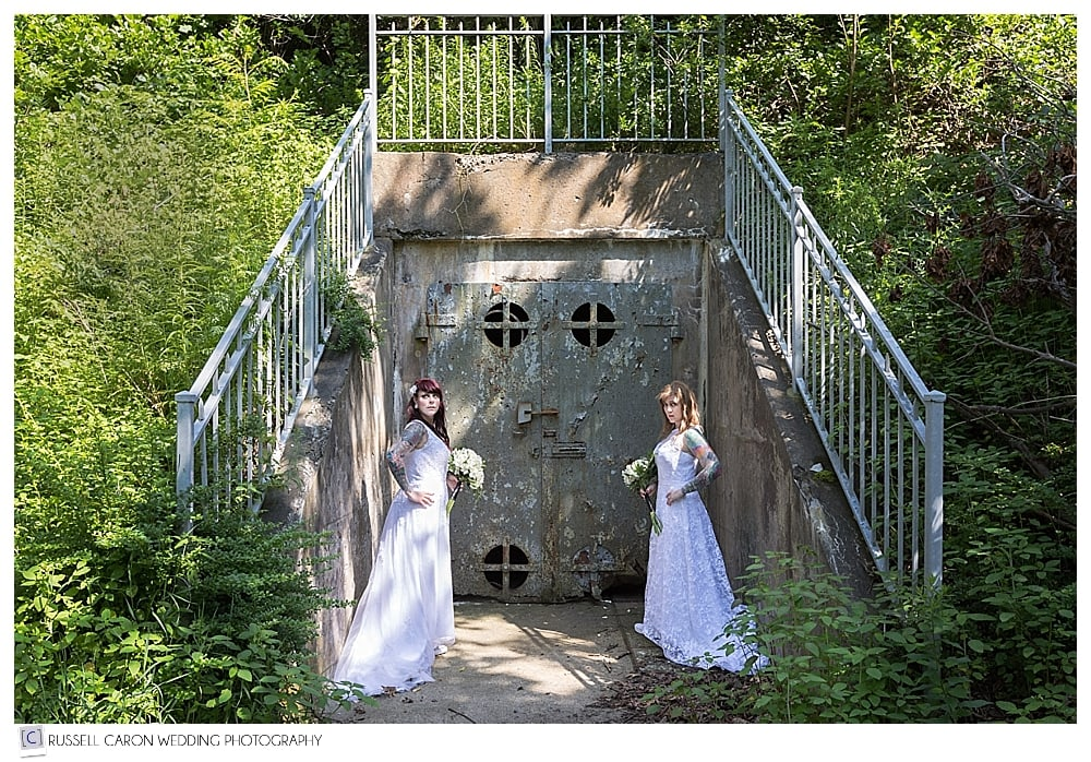 brides in a fort at fort foster kittery maine wedding