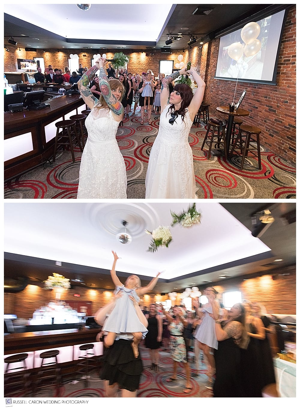 Bridal bouquet toss at Portsmouth Gas Light