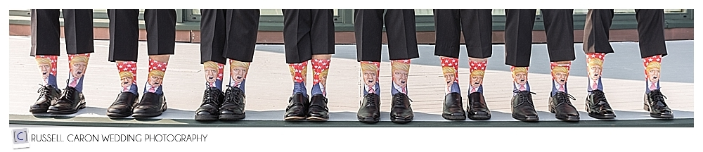 groom and groomsmen with funny Donald Trump socks