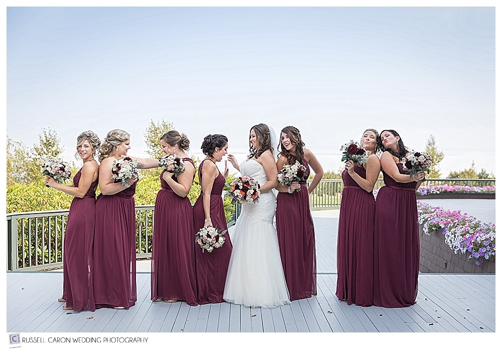 bride with bridesmaids at lovely Point Lookout wedding, Northport, Maine