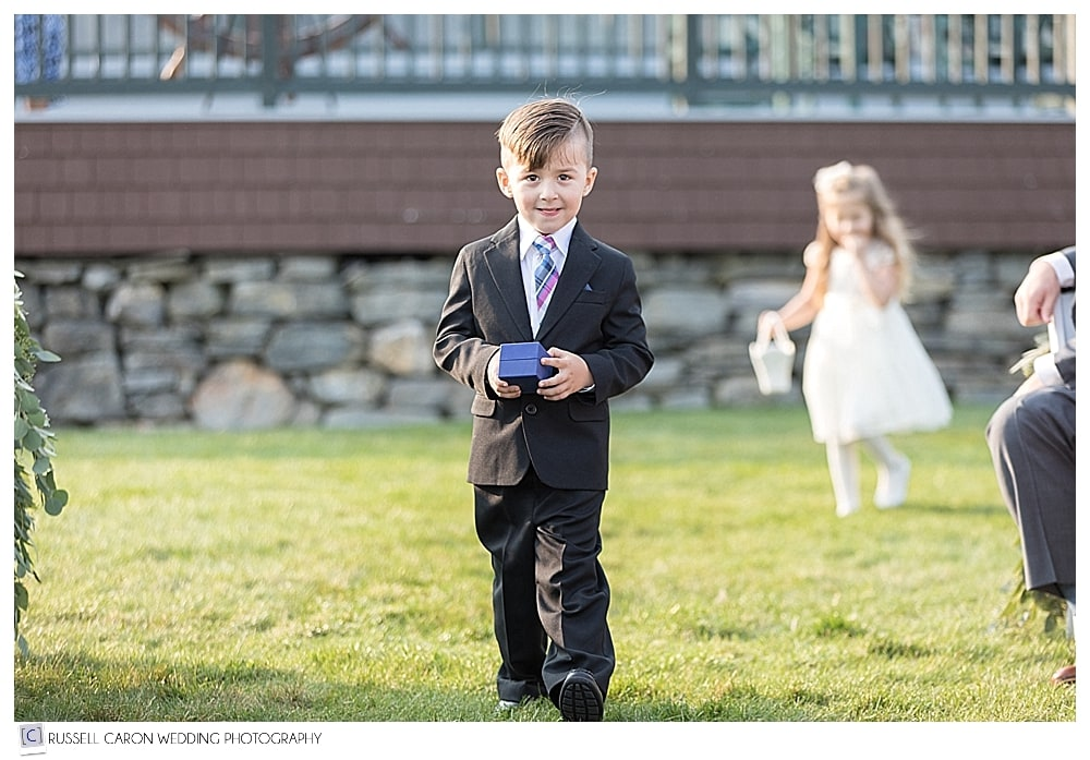 ring bearer at lovely Point Lookout wedding, Northport, Maine