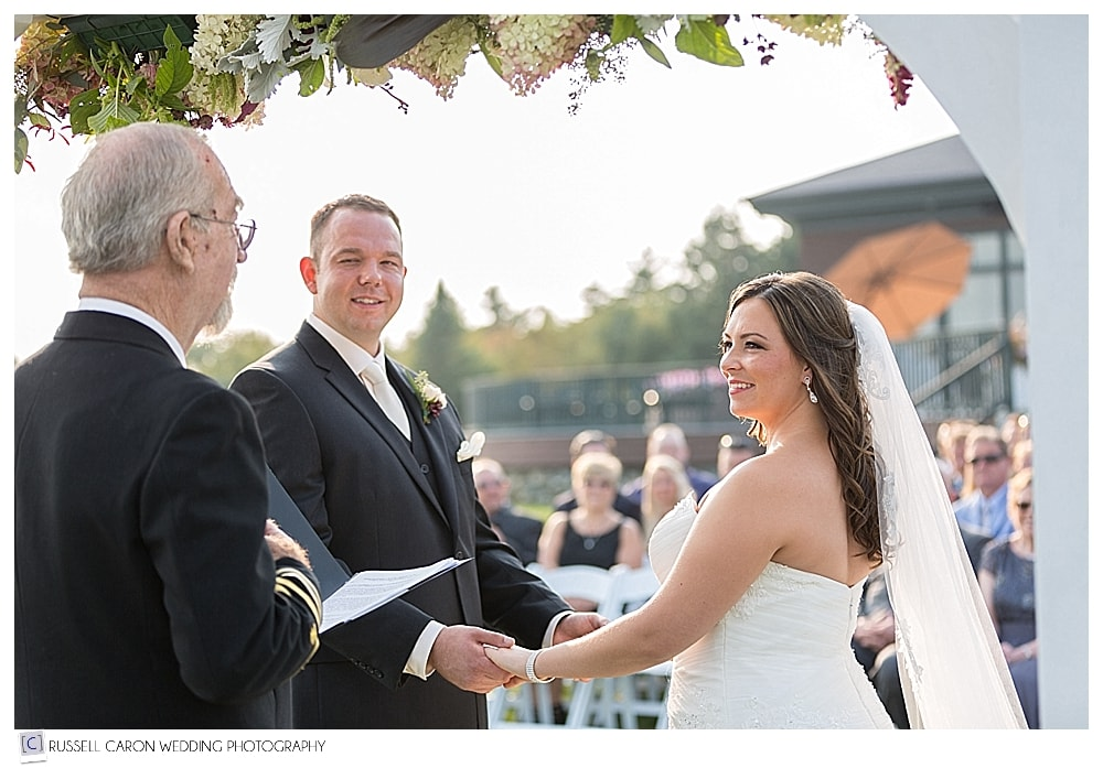bride and groom during Point Lookout wedding ceremony
