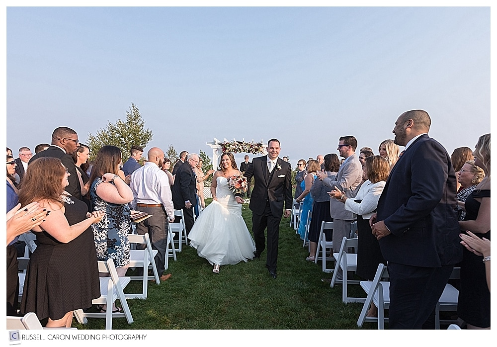 bride and groom during recessional at Point Lookout Resort wedding, Northport, Maine