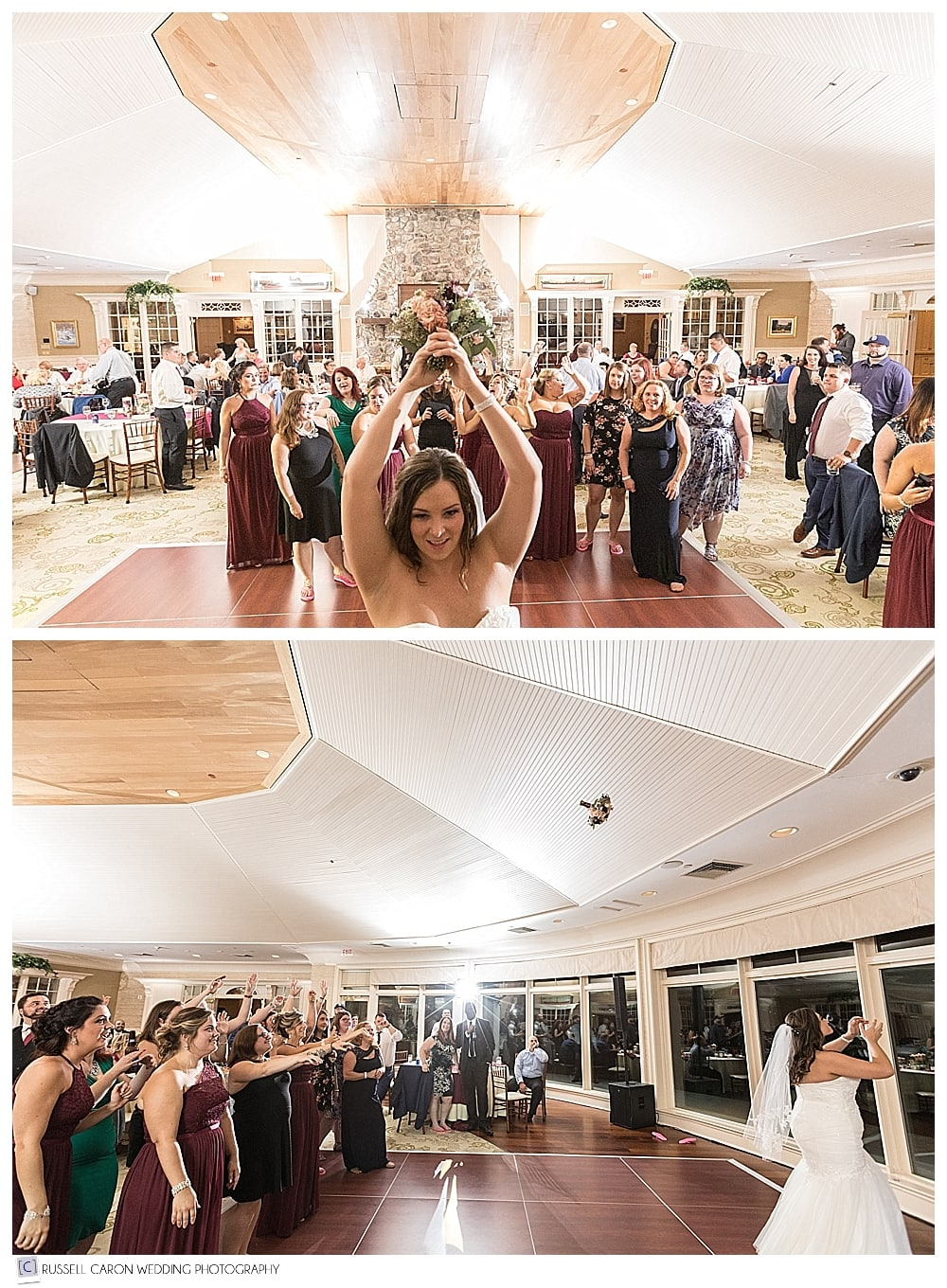bride's bouquet toss at Point Lookout Resort Summit