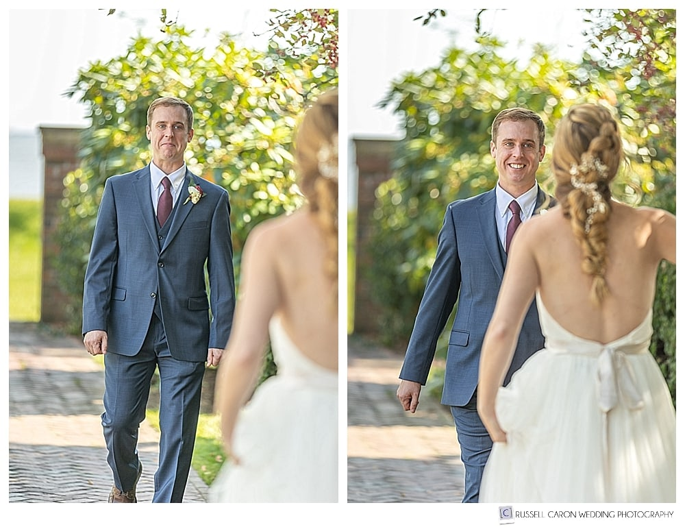 groom walking toward bride during their wedding day first look