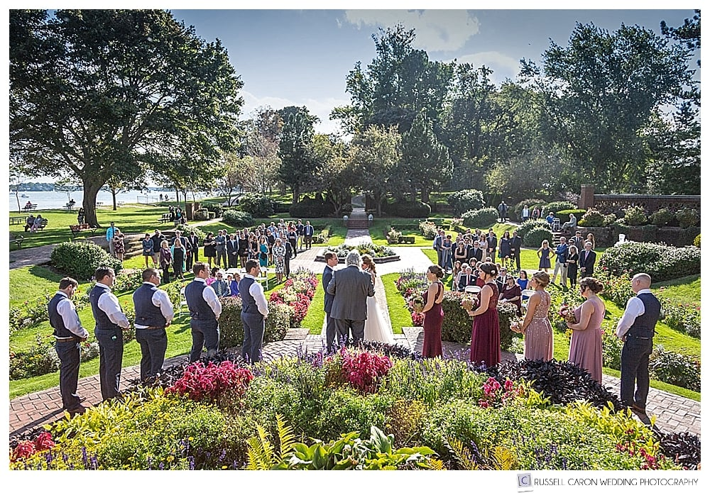 photo of Rose Garden Lynch Park wedding ceremony from behind