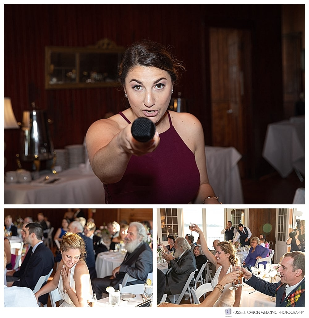 photo of maid of honor with microphone, bride and groom during toasts