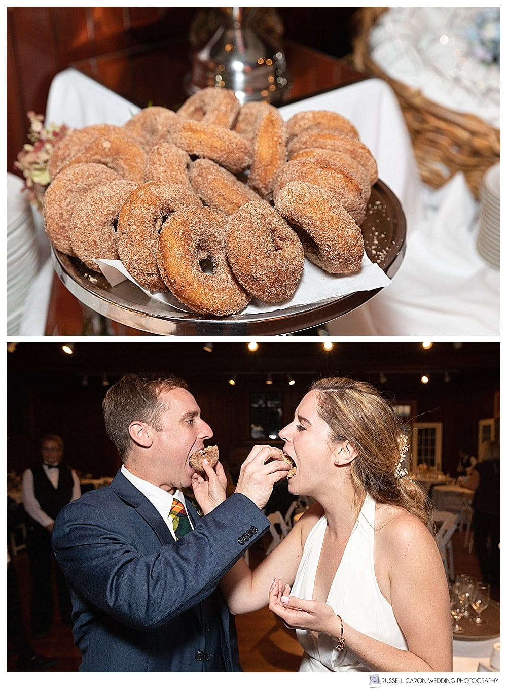 bride and groom feeding each other doughnuts