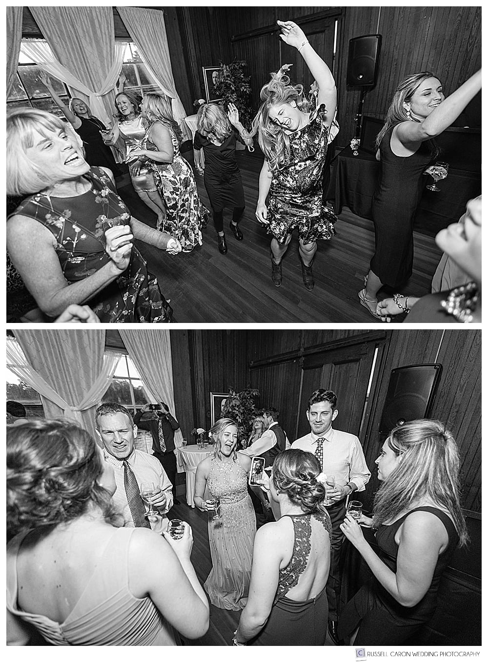 black and white photos of wedding reception dancing at the Carriage House at Lynch Park, Beverly, MA