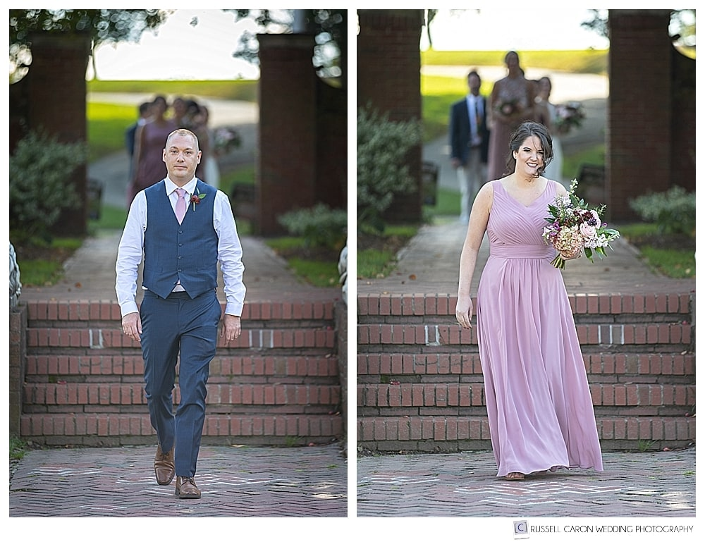 Photo of bridesmaid and bridesman walking down the aisle at Lynch Park wedding ceremony
