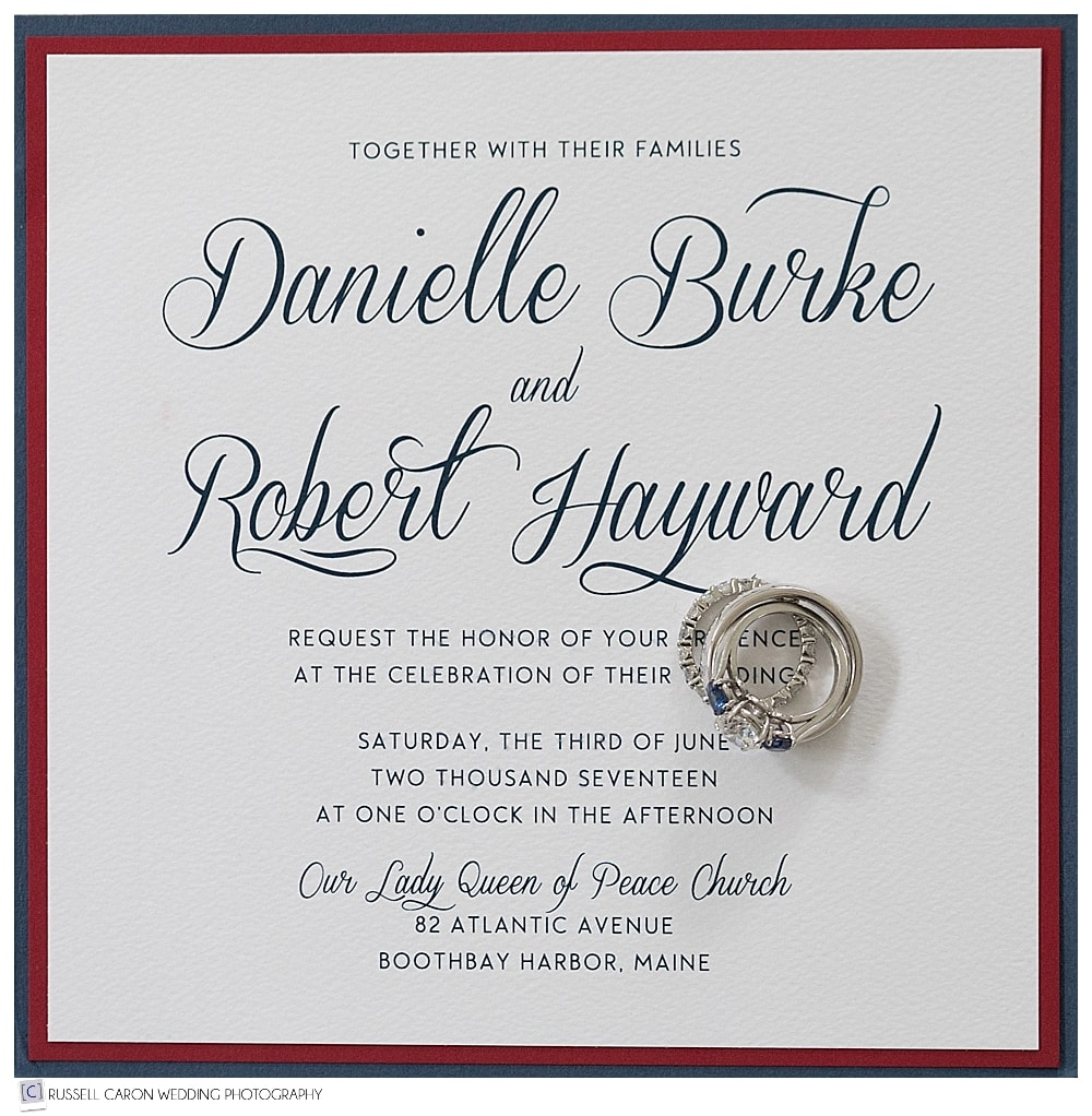 wedding day details wedding rings and invitation