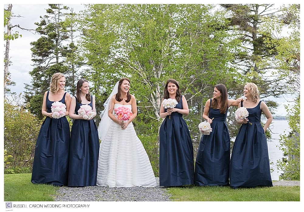 Bride and bridesmaids outside