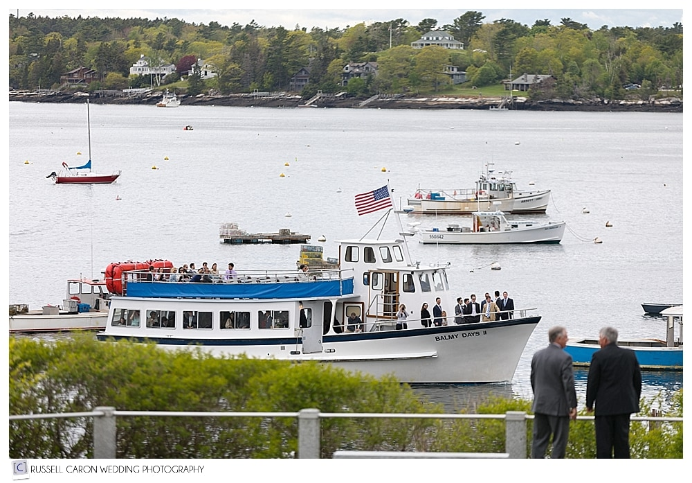 wedding guests arriving by boat at Boothbay Harbor wedding