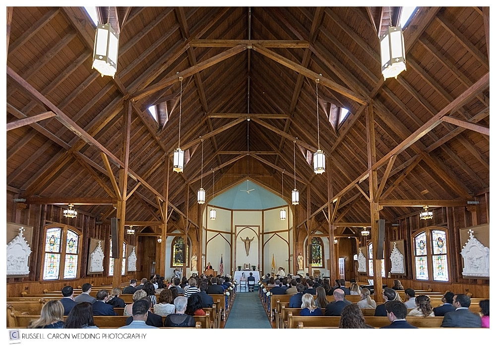 wedding ceremony at Our Lady Queen of Peace Church, Boothbay Harbor, Maine