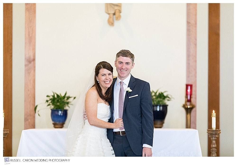 bride and groom just before their recessional
