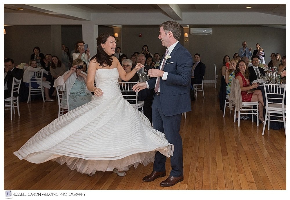 bride twirling during first dance at the Newagen Inn, Southport Maine