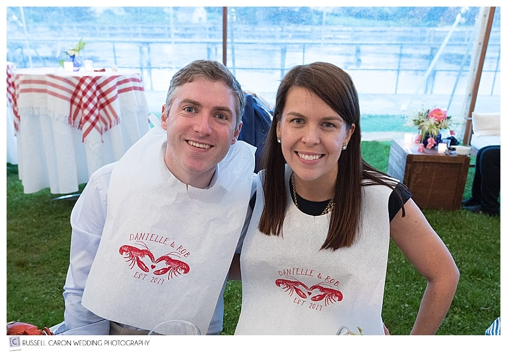 Rob and Danielle wearing lobster bibs