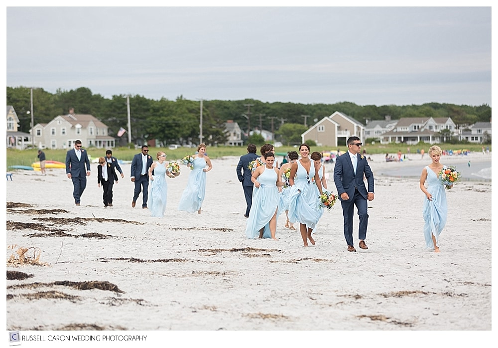 bridal party arriving at Goose Rocks Beach, Kennebunkport, Maine