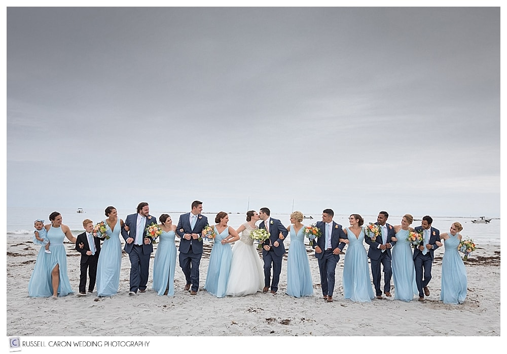 bridal party on Goose Rocks Beach, Kennebunkport, Maine