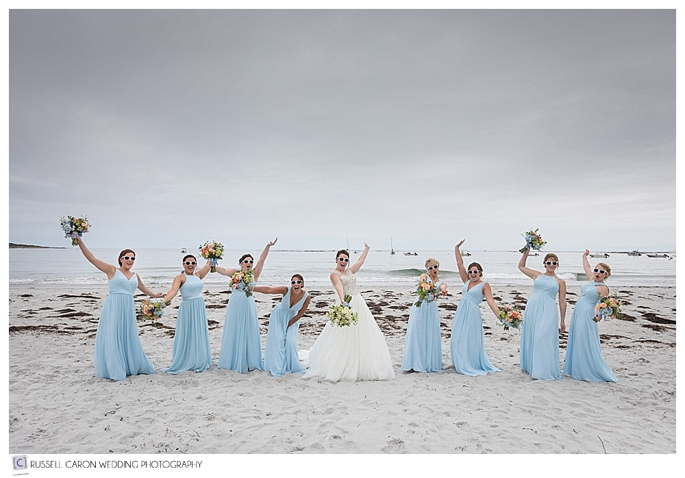 bride and bridesmaids on Goose Rocks Beach, Kennebunkport