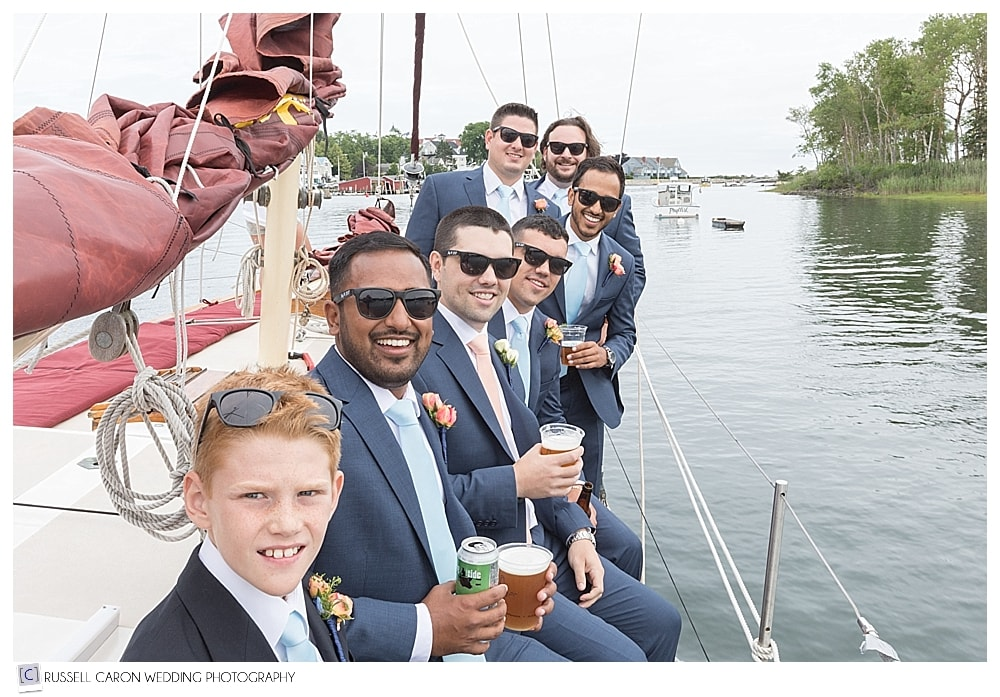 groom and groomsmen on the Pineapple Ketch, Kennebunkport, Maine