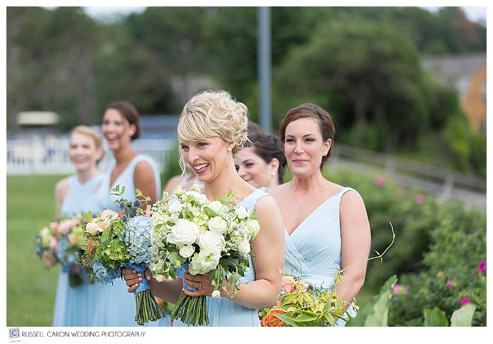 bridesmaids during wedding ceremony at the Nonantum Resort