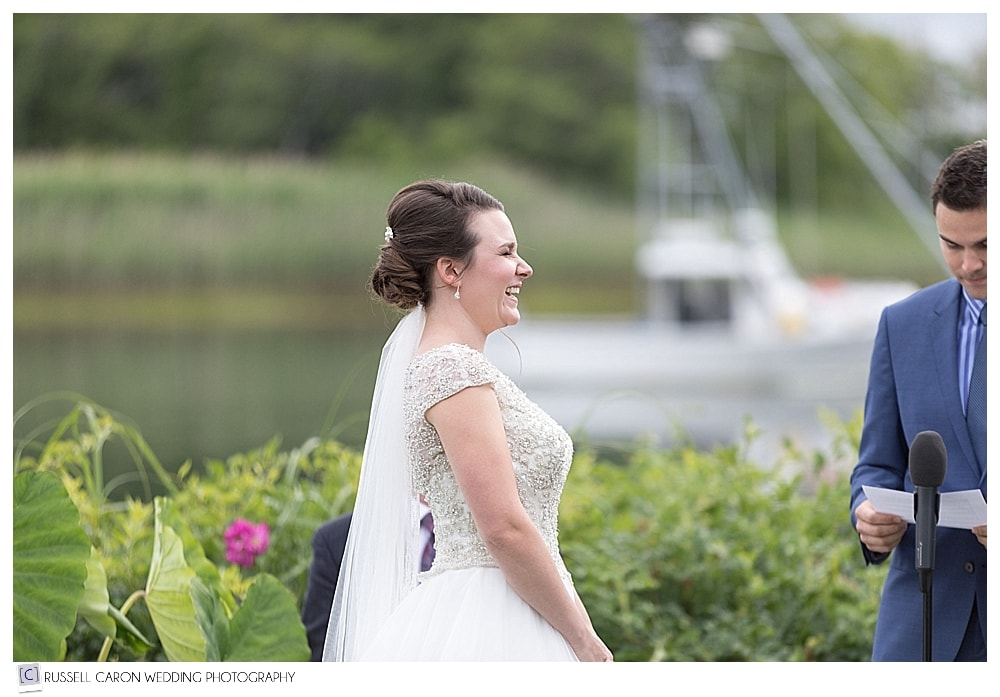 bride during outdoor wedding ceremony at the Nonantum Resort, Kennebunkport Maine