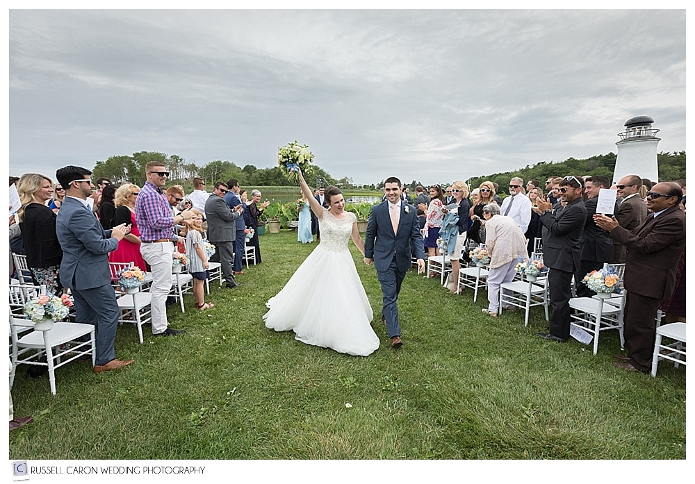 bride and groom during recessional at the Nonantum Resort, Kennebunkport