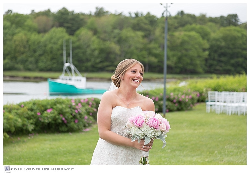bride on the lawn at the Nonantum Kennebunkport Maine