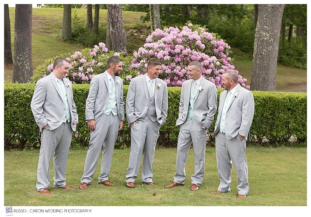 Groom and groomsmen in Old Orchard Beach Maine